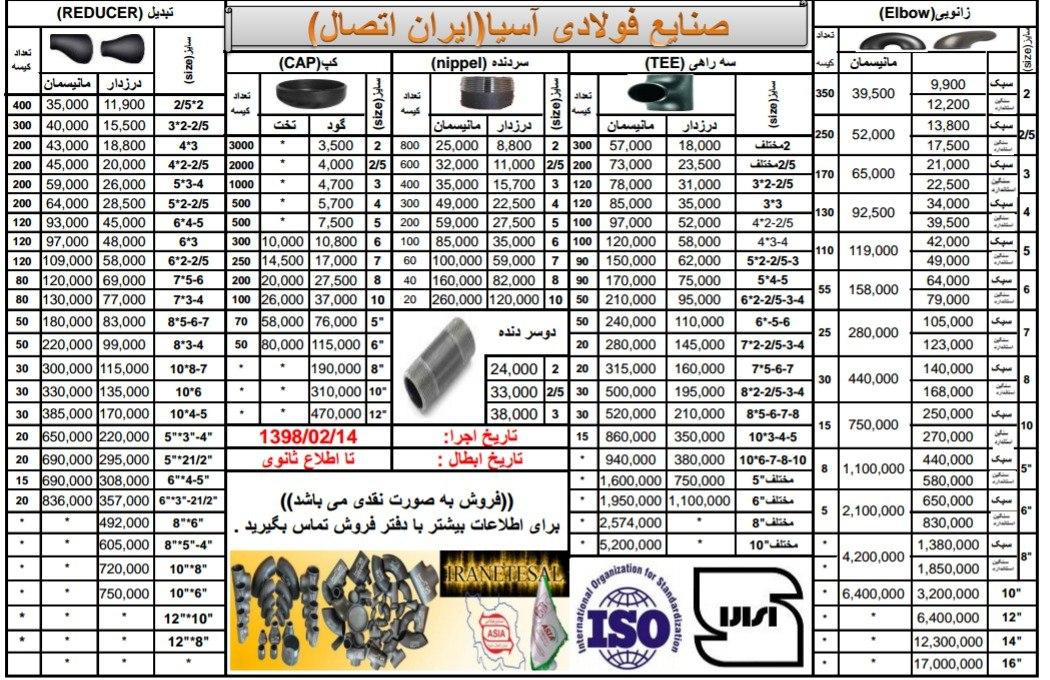 لیست قیمت اتصالات جوشی ایران اتصال اسیا