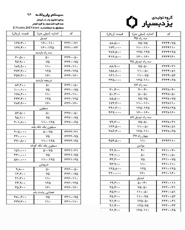 لیست قیمت پوش فیت یزدبسپار
